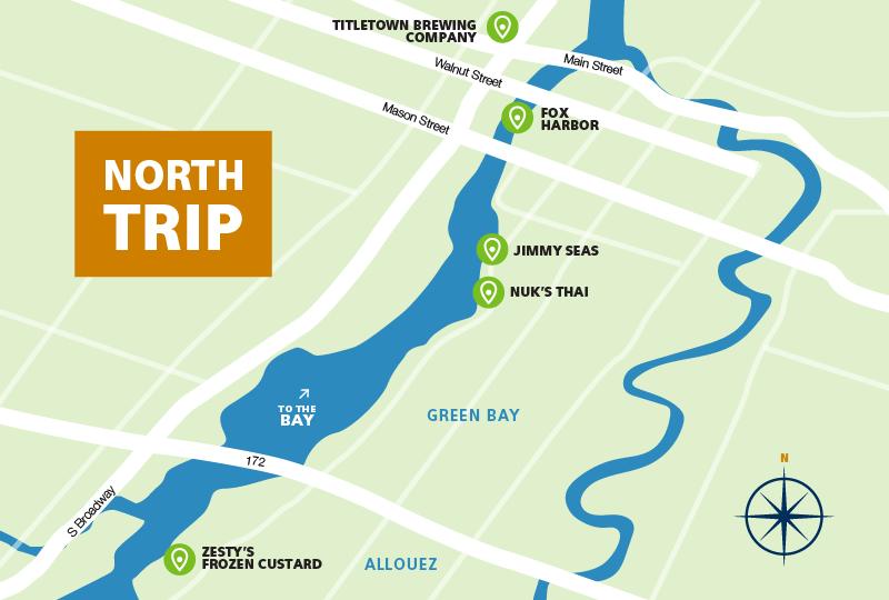 Fox River boat destinations Green Bay/De Pere