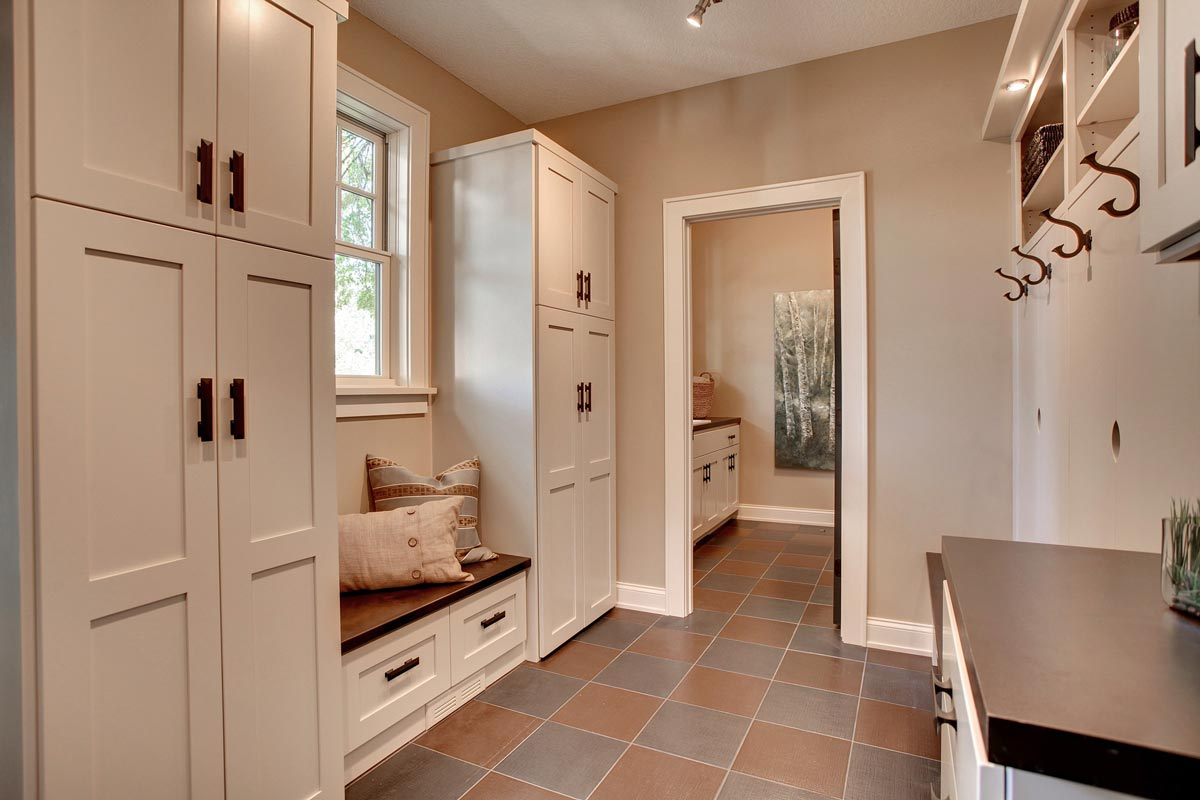 mudroom in wisconsin home