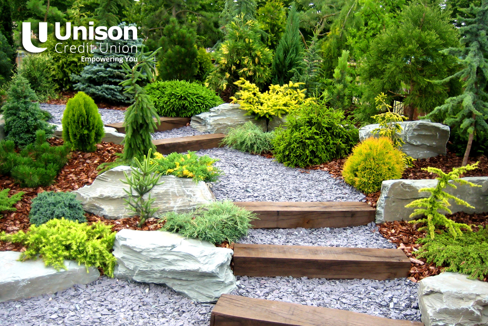 paved backyard steps in garden