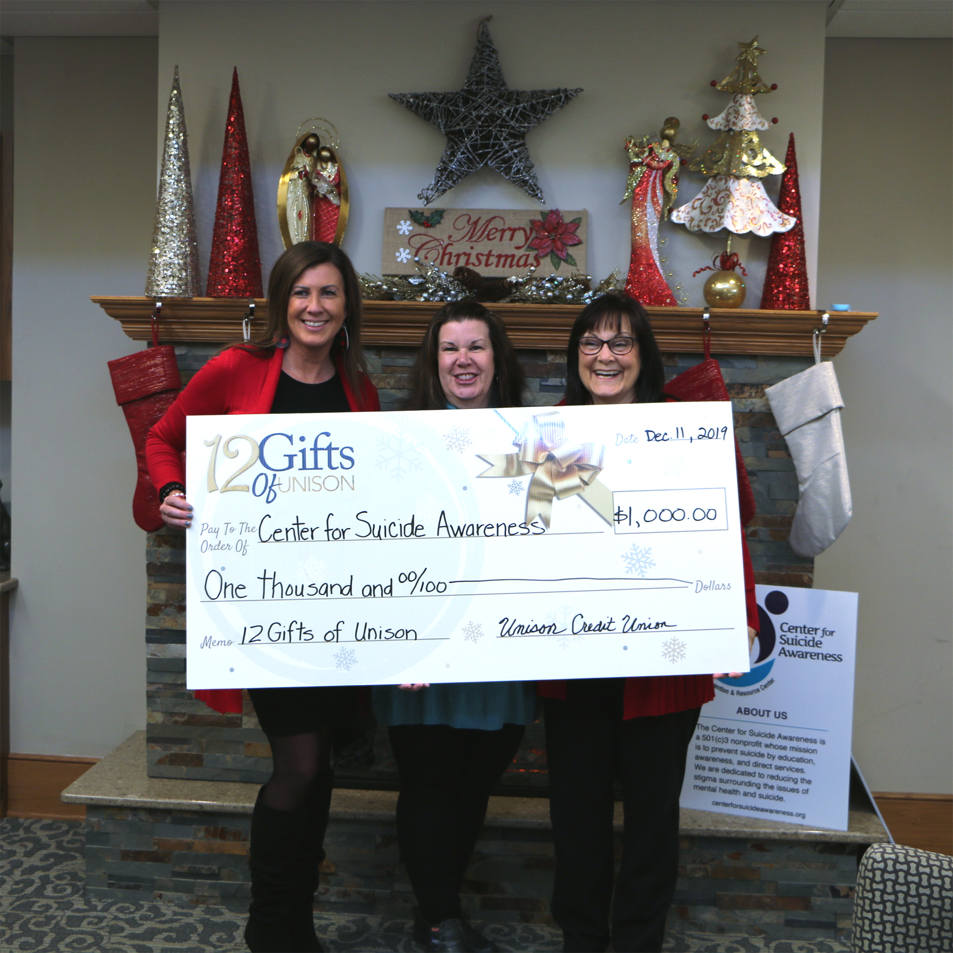 center for suicide awareness wi donation from unison