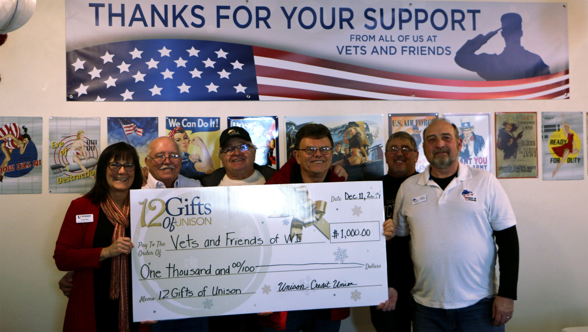 vets and friends of wisconsin donation from unison