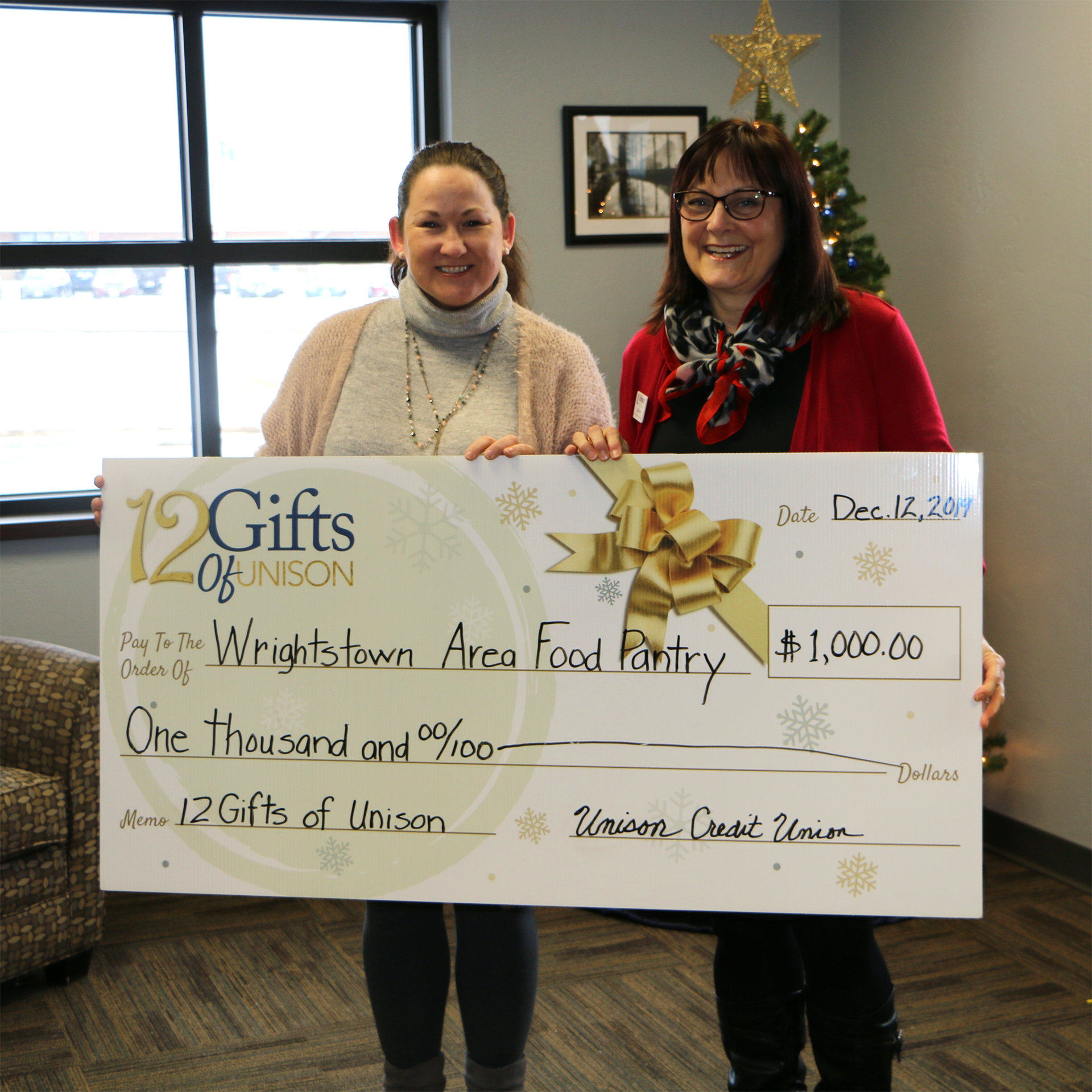 wrightstown food pantry donation from unison