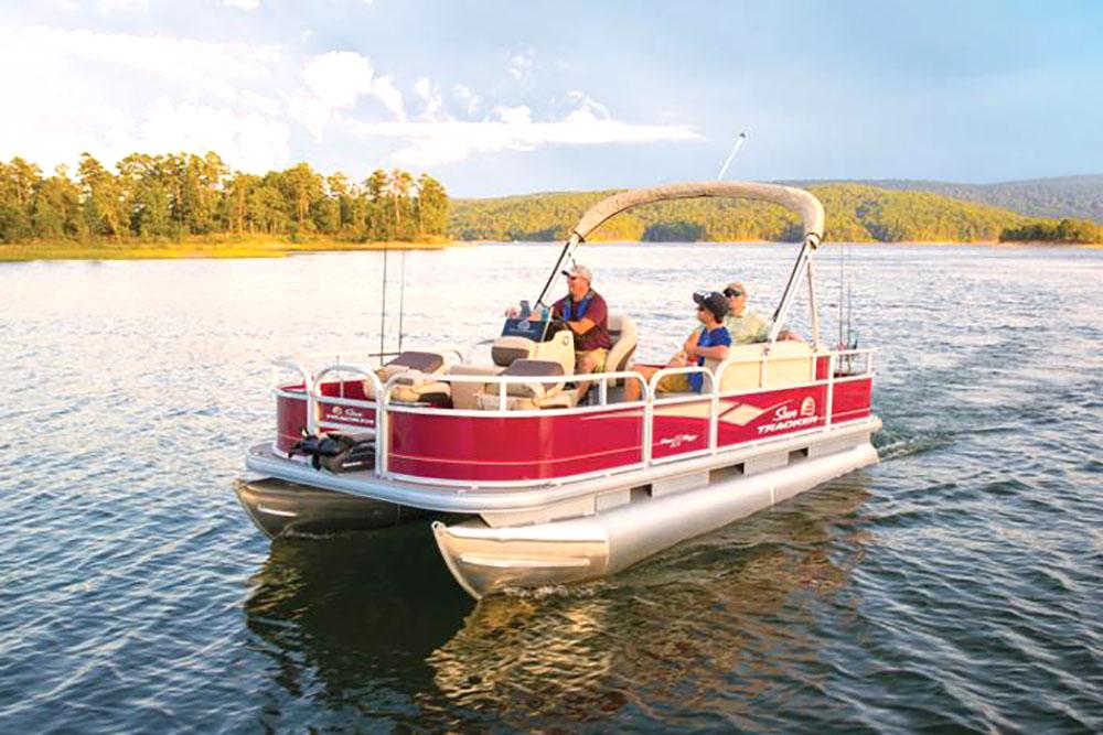 sun tracker boat on wisconsin lake