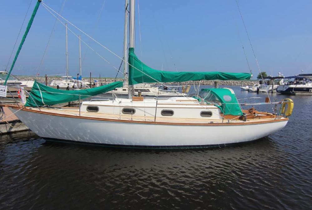boat docked in wisconsin cape dory